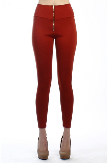LoveMelrose.com From Harry & Molly | HIGH WAISTED FRONT ZIPPER PANT LEGGINGS