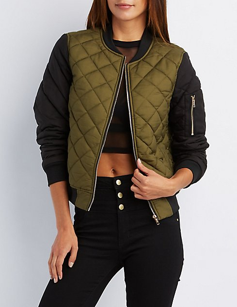Quilted Bomber Jacket Charlotte Russe
