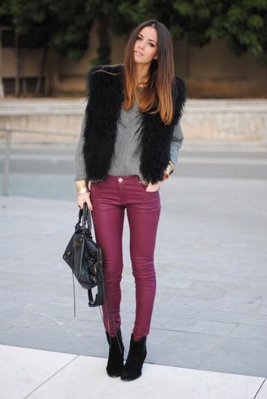 middle spring jeans casual elegant bag brunette fur coat fur trees grey jumper grey jumper violet ombre high heels black heels model ombre hair faboulous