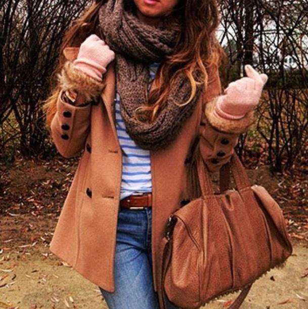 coat scarf bag gloves shirt belt jeans