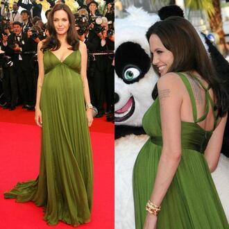 angelina jolie in maternity dresses v neck dress chiffon dress backless dress red carpet vestido de festa