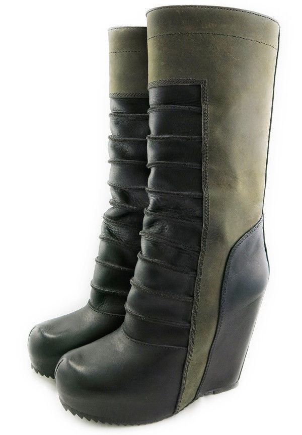 Gorgeous $2k Rick Owens Black & Olive Ruhlmann Wedges Leather Knee High Boots 37