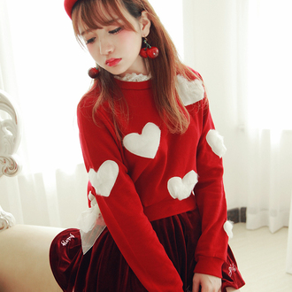 sweater red white cute heart kawaii fashion style casual winter outfits fall outfits japanese girly christmas sweater long sleeves asian fashion teenagers heart sweater