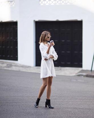 dress tumblr mini dress shirt dress white dress boots black boots ankle boots