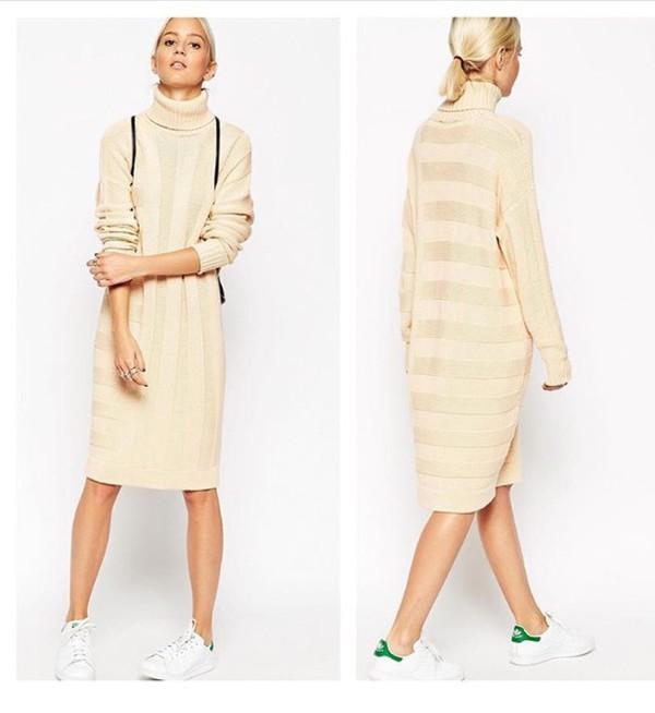 Dress: maxi dress, sweater dress, turtleneck sweater, turtleneck ...