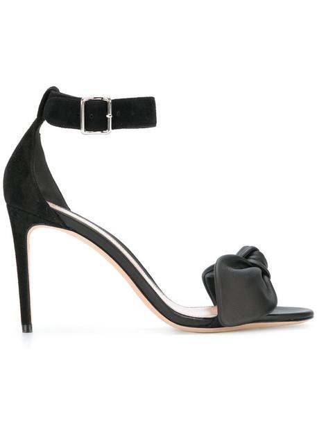 Alexander Mcqueen bow women sandals leather suede black shoes