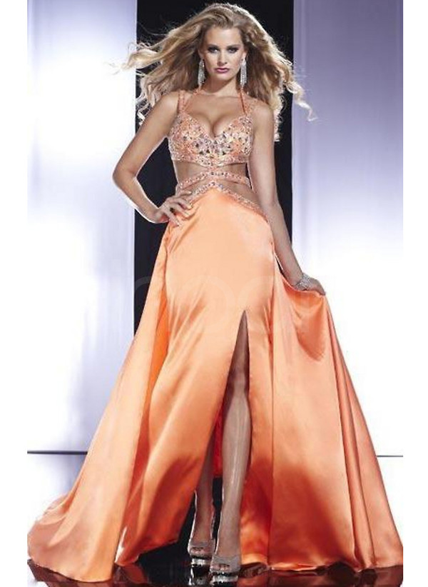 dress long floor length prom dress sleeveless and have straps made of elastic woven satin