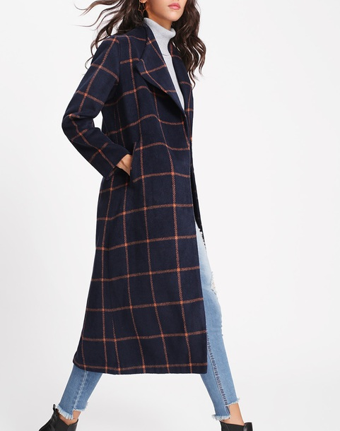 coat girly long long coat checkered grid