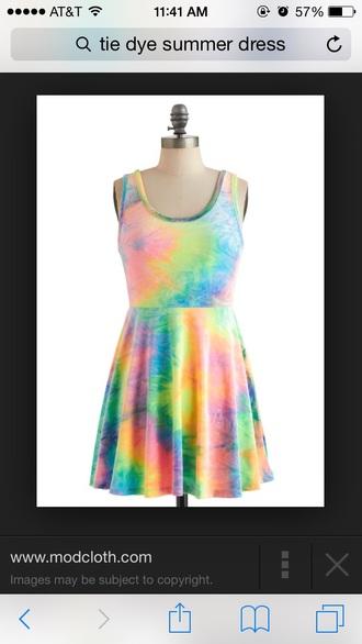 dress color/pattern neon tie dye dress tie dye colorful dress neon dress