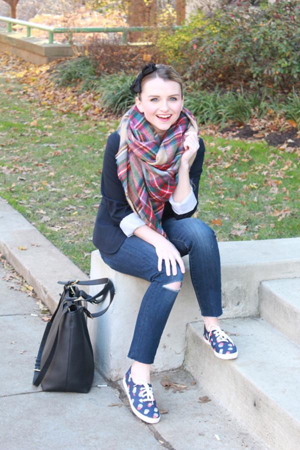 poor little it girl jacket jeans t-shirt shoes bag scarf