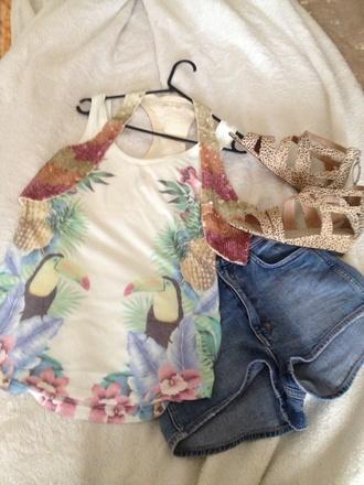 tank top goddess of babylon sequin vest / cotton singlet  love summer !