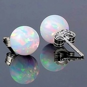 jewels,earrings,white,holographic,colorful,opal stud earrings,opa