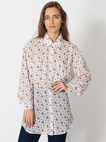 Floral Chiffon Oversized Button-Up | American Apparel