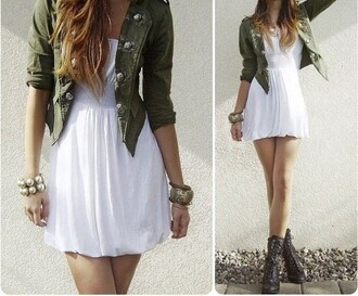 jacket green camouflage cropped jacket khaki dress tumblr outfit white dress short dress casual dress