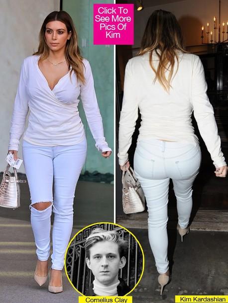 white kim kardashian white top pants shirt