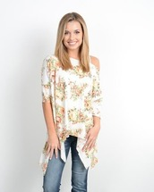 top,one shoulder top,off the shoulder top,floral,ivory,white,tunic,spring,summer,summer top,spring top,summer outfits,spring outfits,outfit idea,outfit