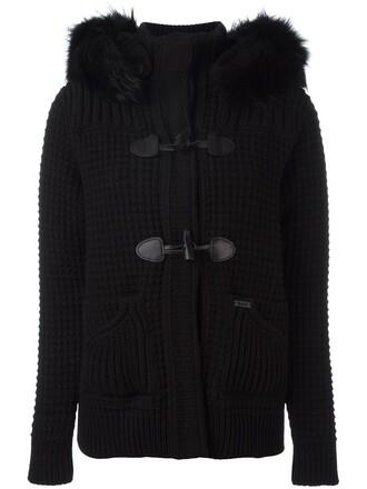 coat duffle coat fur women black wool