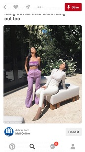 top,purple,purple top,velvet,velvet top,crop,crop tops,tube top,purple pants,high waisted jeans,high waisted,high waisted pants,pastel,pastel purple,kourtney kardashian,kardashians