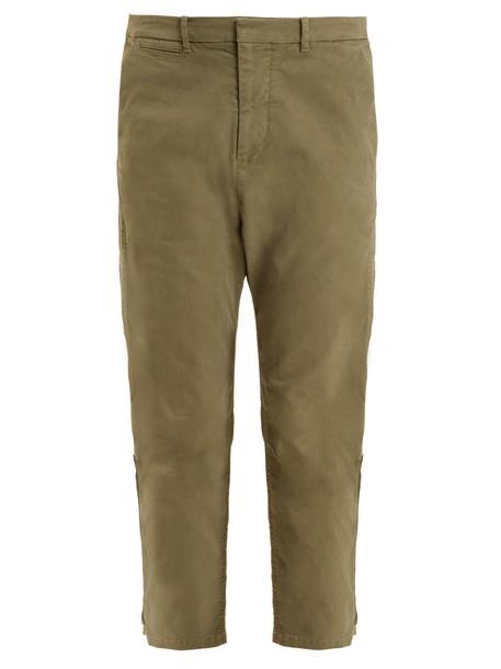 cropped cotton khaki pants