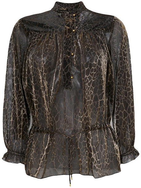just cavalli blouse women print black top