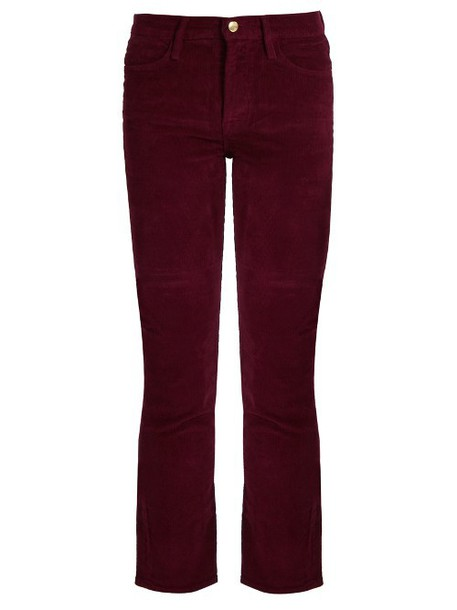 FRAME Le High straight-leg corduroy trousers in burgundy