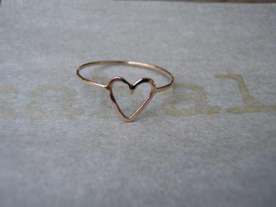 Heart ring 14k gold filled dainty heart ring
