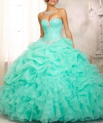 dress ball gown dress prom dress tiffany blue long dress aqua ruffle bling quinceanera dress turquoise beads turqoiuse teal dress turquoise