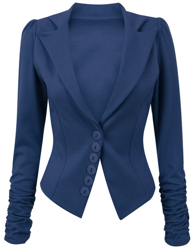 Womens Long Ruched Sleeve Button Front Panell Slim Fit Blazer /Jacket Size 8-14 | Amazing Shoes UK