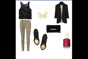 tank top top shoes black necklace crop tops pants leopard print gold blazer cluth lace summer outfit clothes party pretty