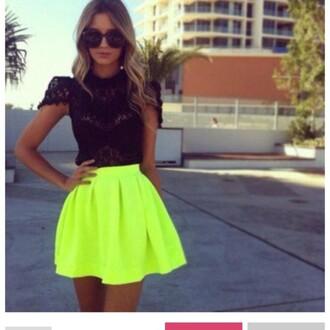skirt neon green skirt skater skirt high waisted skirt neon cute blogger skrit chic vogue hair accessory blouse