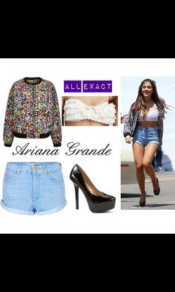 dots jacket ariana grande High waisted shorts