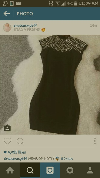dress black mini dress studded dress turtleneck dress