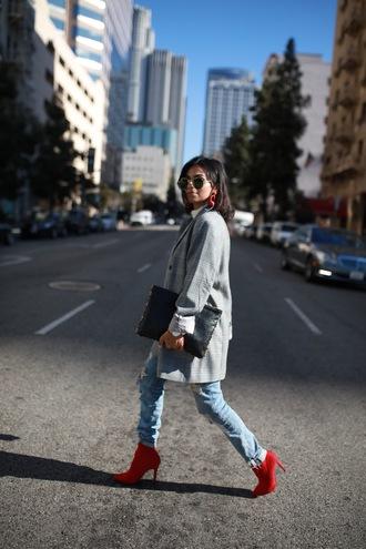 coat tumblr grey coat plaid coat boots red boots denim jeans light blue jeans bag pouch sunglasses
