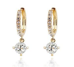 Austrian Crystal Gold with White Zircons Rhinestone Hoops Earrings E291   Amazing Shoes UK