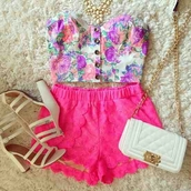 shirt,cute top,flowers,floral print top,shorts,shoes,top,bag,pink floral strapless,button,pink floral button strapless,lace,pink,pink lace shorts,pink laces,hot pink,blouse