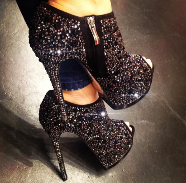 shoes black coal crystal heels boots