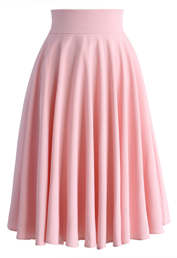 pleated midi skirt in pink retro and