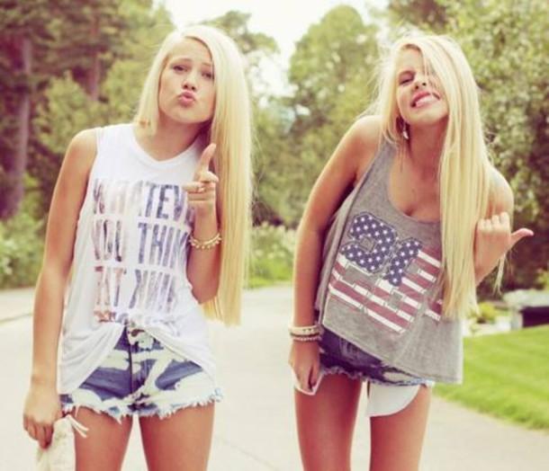 T Shirt Shorts Blonde Hair Outfit Tank Top Denim Hot