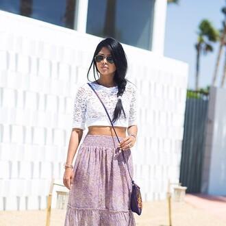 skirt purple skirt maxi skirt lace shirt lace white white