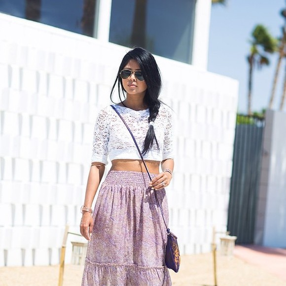 lace shirt skirt white purple skirt maxi skirt lace white