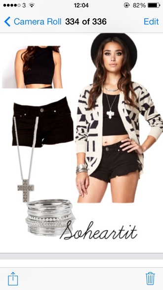 jewels black tank top top crop shorts cream sweater cardigan knit silver cross necklace bracelets bangle stacked forever 21 cute pretty fashion soheartit shoes jacket hat