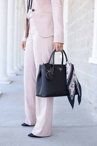 pants scarf tumblr pink pants blazer pink blazer bag black bag prada bag sunglasses shirt white shirt wide-leg pants power suit matching set work outfits office outfits spring outfits