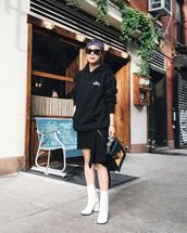 shoes,black hoodie,skirt,bag,boots,white boots,ankle boots,white ankle boots,sunglasses