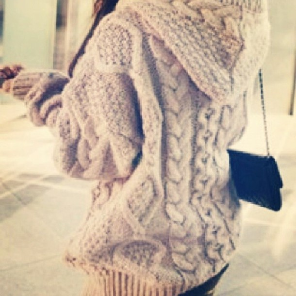 Sweater: cable knit, hoodie - Wheretoget
