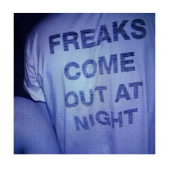 clothes shirt t-shirt white black logo grunge soft grunge hipster tumblr tumblr clothes freaks come night words blue out at cute