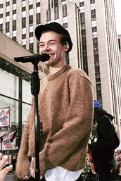 sweater,brown sweater,harry styles