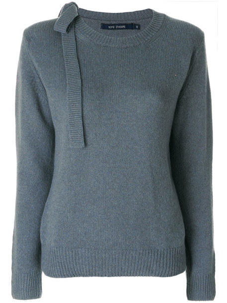 Sofie D'hoore - jumper with tie shoulder - women - Cashmere - S, Blue, Cashmere