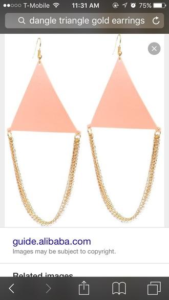 jewels triangle earrings pink salmon salmon color earrings salmon earrings light pink earrings pink earrings gold earrings golden earrings earrings gold triangle earrings