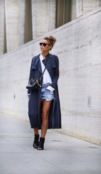 coat grey coat gray long coat trench coat blue long coat tumblr cute pretty navy blue
