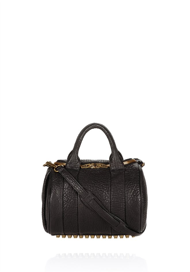 Black Rockie In Pebbled Black With Antique Brass - Alexander Wang